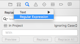 Xcode find-and-replace with regular expressions (regex)